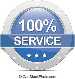 100% Service Banner - blue big round 100% Service Banner ...