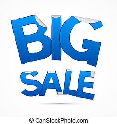 Blue Big Sale Sticker - Label on white background
