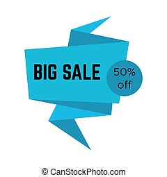 Blue big sale sticker with text in origami style