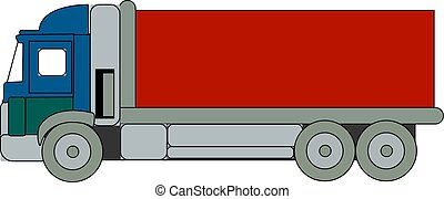 Blue big truck, illustration, vector on white background.