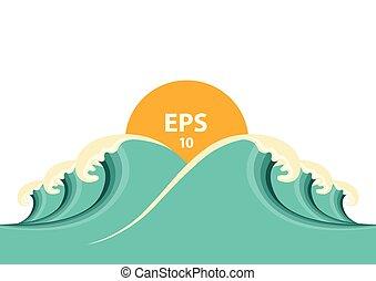 Blue big waves illustration for design