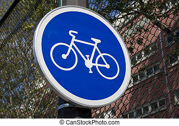 Blue Bike Sign in Urban Setting