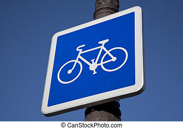 Blue Bike Sign on Lamppost