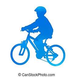 Blue biking kid. Vector silhouette