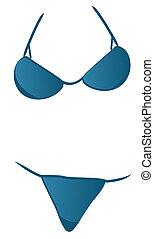 blue bikini bathing suit isolated on white