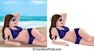 Blue bikini girl lying on beach
