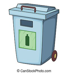 Blue bin garbage container for plastic waste icon