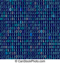 Blue Binary Background - Blue binary computer code repeating...