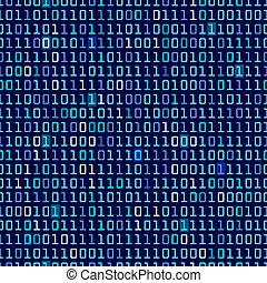 Blue Binary Background - Blue binary computer code repeating...