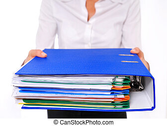 Blue Binder Presented by am Out-of-focus Business Woman