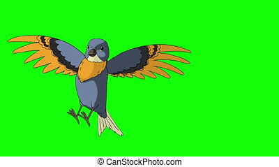 Blue Bird Came Flying. Animated Motion Graphic Isolated on...