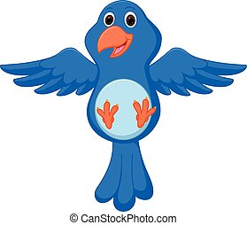 Blue bird cartoon flying