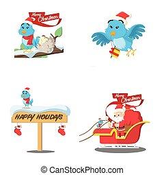 blue bird cartoon set