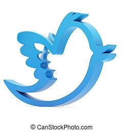 Blue bird isolated on white background