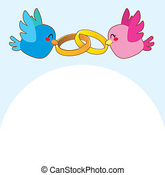 Lovely pink and blue birds holding gold engagement rings over blue background flying above white copy-space