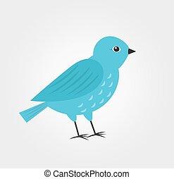 Blue bird, flat design.