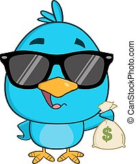 Blue Bird Holding A Bag Of Money