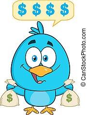 Blue Bird Holding A Bags Of Money