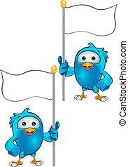 Blue Bird - Holding A Flag