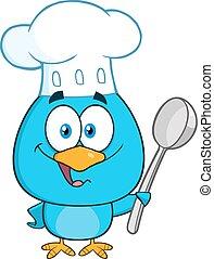 Blue Bird Holding A Spoon