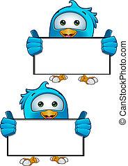 Blue Bird - Holding Blank Sign