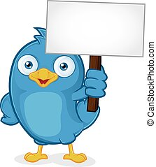 Blue Bird Holding Sign - Clipart Picture of a Blue Bird...