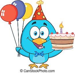 Blue Bird Holding Up A Balloons