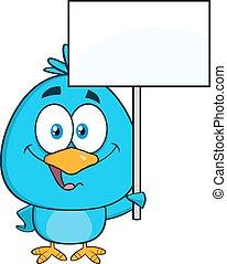 Blue Bird Holding Up A Blank Sign