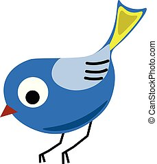 Blue bird, illustration, vector on white background.