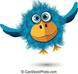 Blue Bird in flight - Illustration of a funny blue bird in...