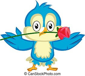 Blue bird is holding a red rose, illustration, vector on white background.