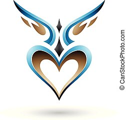 Blue Bird Like Winged Heart with a Shadow Vector Illustration