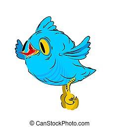 Blue bird Little flies isolated. Birdie cartoon style