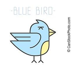 Blue bird logo. Vector illustration.