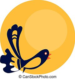 blue bird on background of  yellow sun , vector illustration