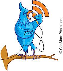 Blue bird on branch vector
