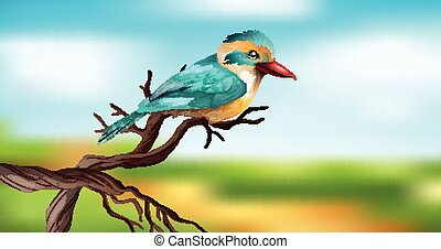 Blue bird on wooden branch with sky background