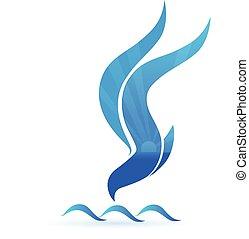 Blue bird sun and waves icon logo vector