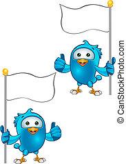 Blue Bird - Thumbs Up Holding Flag