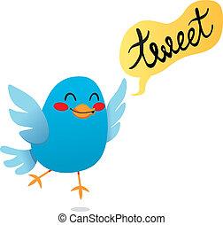 Cute little blue bird tweet cartoon illustration