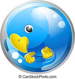 A tweet ing twitter ing blue bird icon or symbol illustration