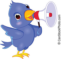 Vector illustration of blue bird with loudspeaker