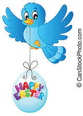 Blue bird with Easter egg