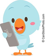 Blue bird with phone vector art