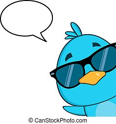 Blue Bird With Sunglasses