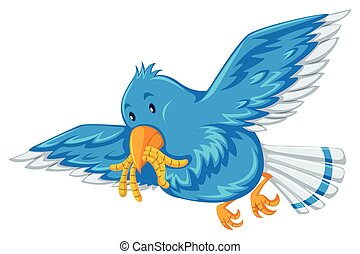 Blue bird with worms in its mouth illustration