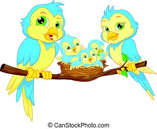 Blue birds family - vector illustration of Blue birds family
