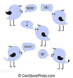 Blue birds with speech bubbles