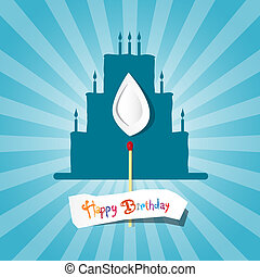 Blue Birthday Background Illustration with Cake Silhouette