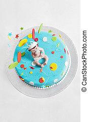 Blue birthday cake - top view